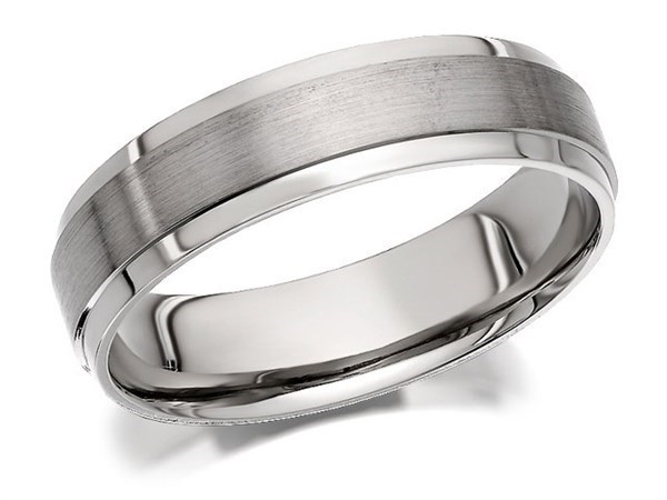 Palladium 500 Brushed And Polished Finish Wedding Ring - 5mm - Size S Only - Z50461