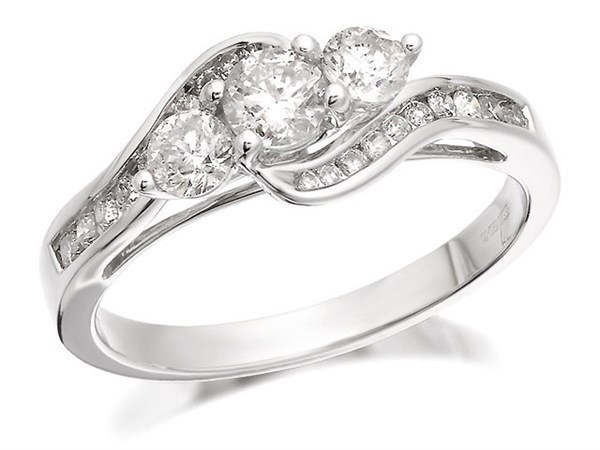 18ct White Gold 1 Carat Diamond Crossover Trilogy Ring - Size I Only - Z50541