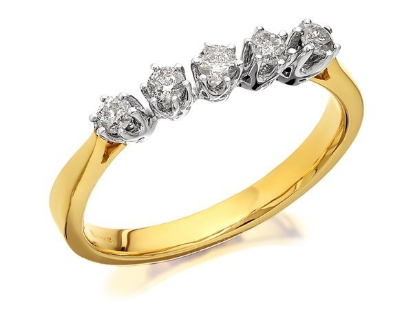 9ct Gold Five Diamond Ring - 1/4ct - Size T Only - Z50630