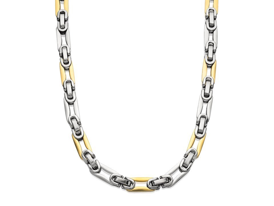 inspirit stainless steel two tone chunky link necklace
