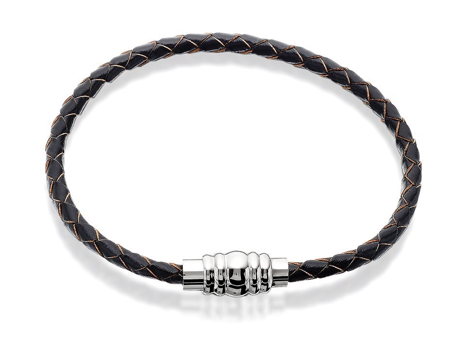 61cfe7fd0d373 Fred Bennett Stainless Steel And Brown Leather Bracelet - A3773