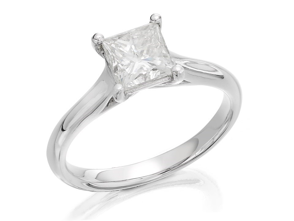18ct White Gold 1 Carat Princess Cut Diamond Solitaire Ring Certificated D0789 F Hinds Jewellers