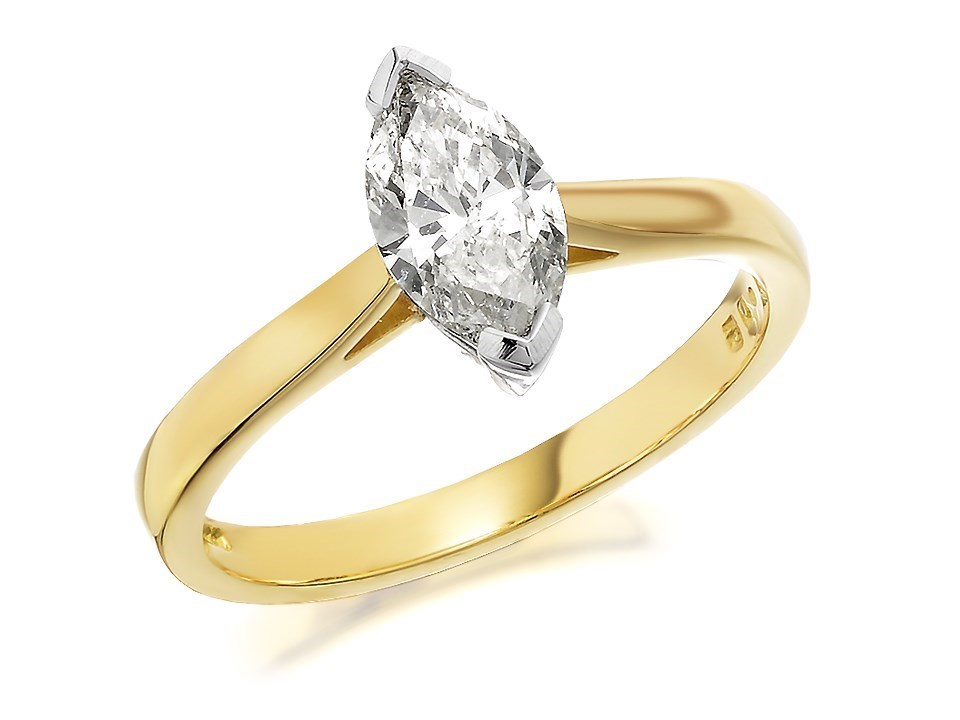 18ct Gold 1 Carat Marquise Cut Diamond Solitaire Ring Certificated D1050