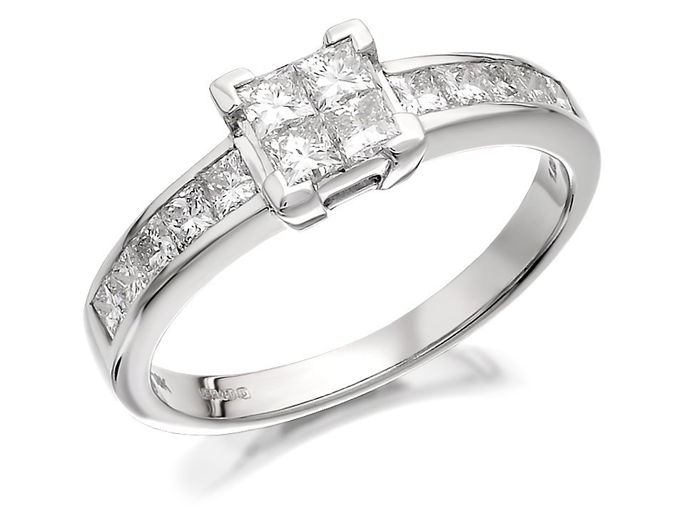 18ct White Gold 1 Carat Princess Cut Diamond Ring D1312