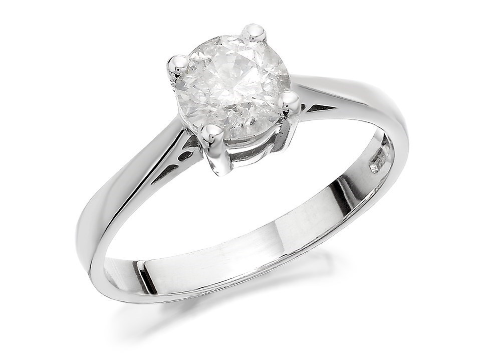 18ct white gold solitaire ring 90pts