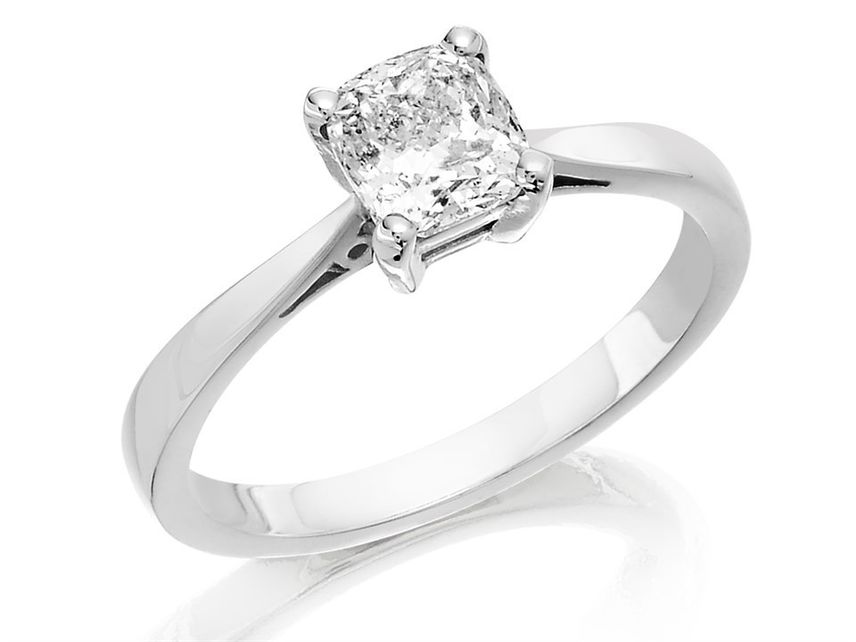 18ct White Gold 1 Carat Cushion Cut Diamond Solitaire Ring Certificated D2320 F Hinds Jewellers