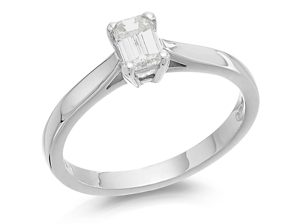 18ct White Gold Emerald Cut Diamond Solitaire Ring 1 2ct Certificated D2325 F Hinds Jewellers