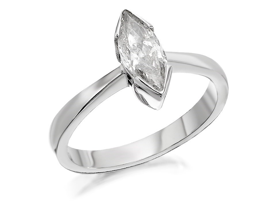 18ct White Gold 1 Carat Marquise Cut Diamond Solitaire Ring Certificated
