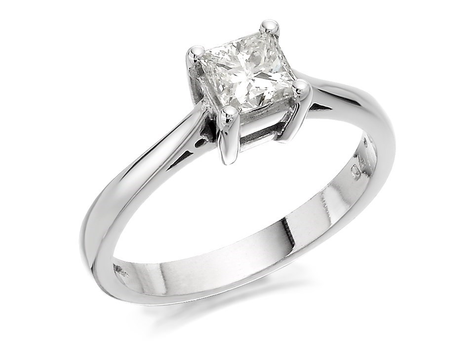 d55af295b9544 18ct White Gold Princess Cut Diamond Solitaire Ring - 70pts - Certificated  - D2377