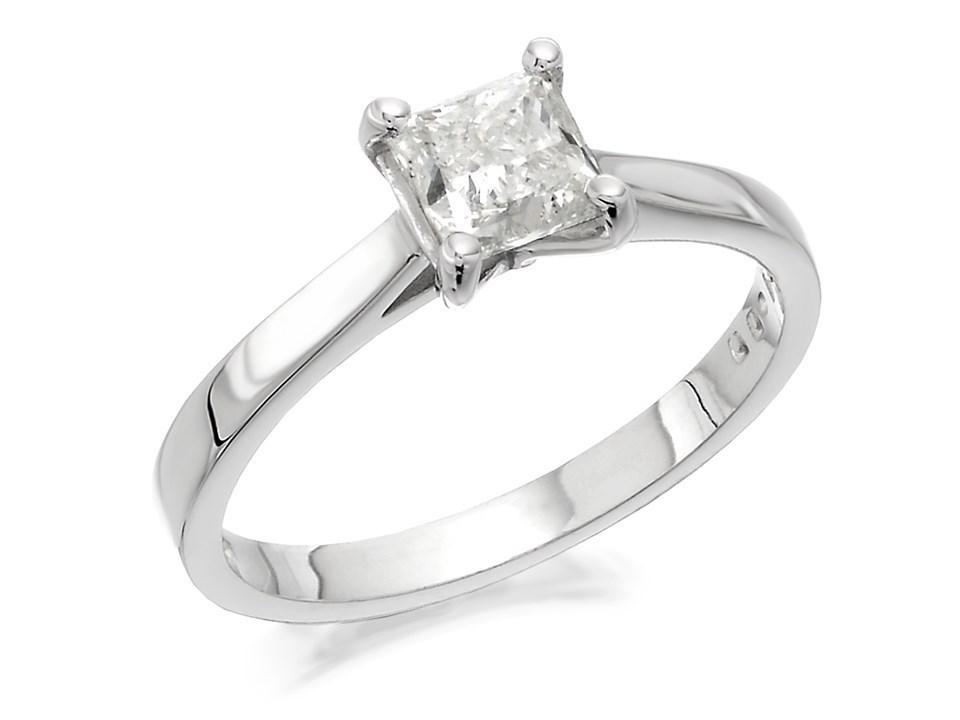 18ct White Gold 1 Carat Princess Cut Diamond Solitaire ...