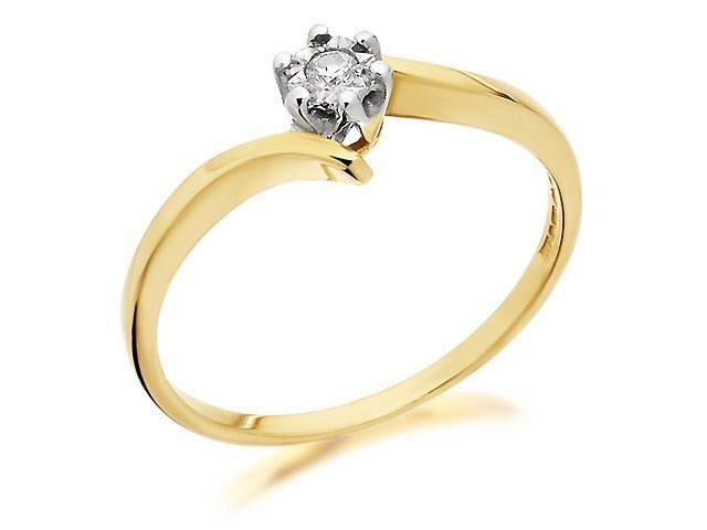 Solitaire Illusion Engagement Ring Ct Yellow Gold