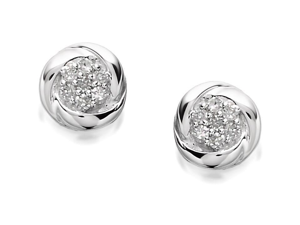 9ct White Gold Mini Diamond Knot Stud Earrings – 7pts per pair - D5513