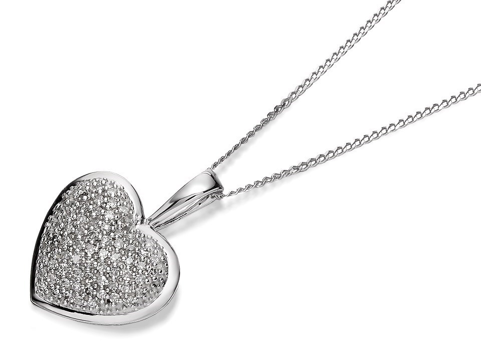 F.Hinds 9ct White Gold Diamond Heart Locket And Chain Necklace Pendant Photo New d0AFPmGso