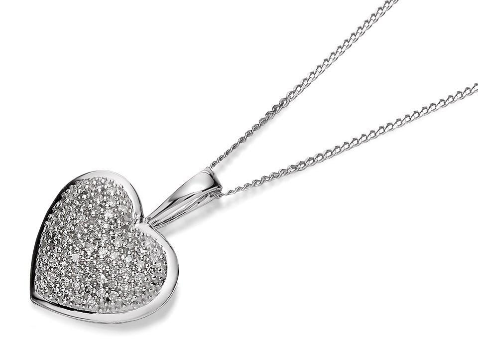 F.Hinds 9ct White Gold Diamond Heart Locket And Chain Necklace Pendant Photo New BvU5hFuGi