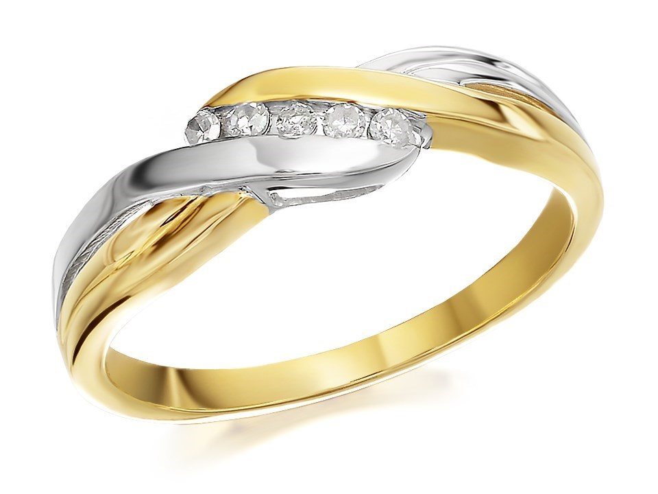 9ct Two Colour Gold Five Diamond Crossover Ring 7pts D5807 F