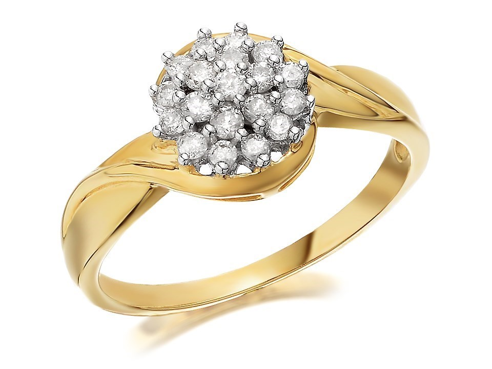 9ct gold cluster ring 1 4ct d6032 a f hinds