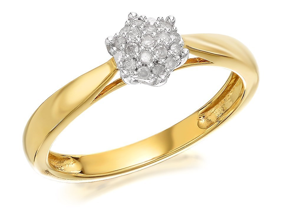 9ct gold cluster ring 10pts d6041 f hinds