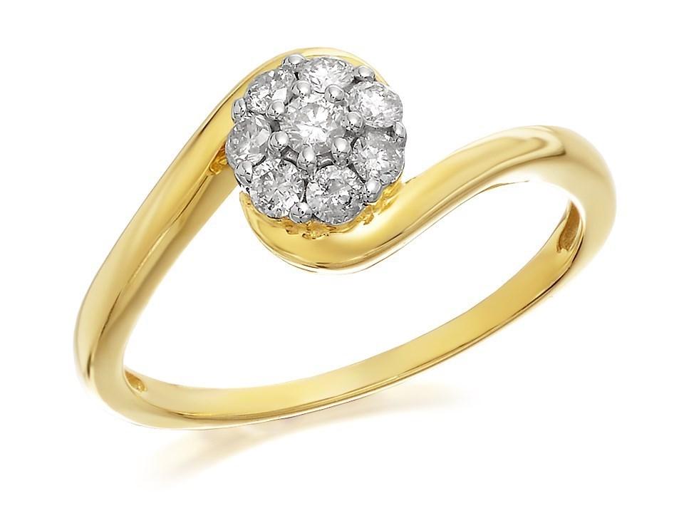 9ct gold diamond twist cluster ring   1 4ct   d6042 f