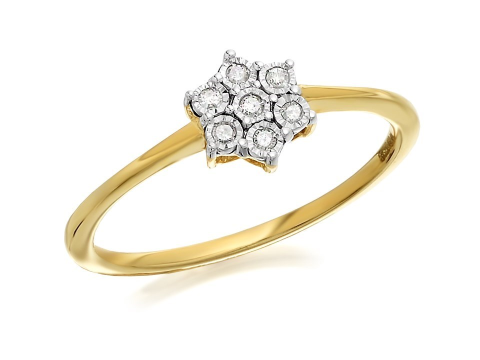 9ct gold flower cluster ring 5pts d6064 j f