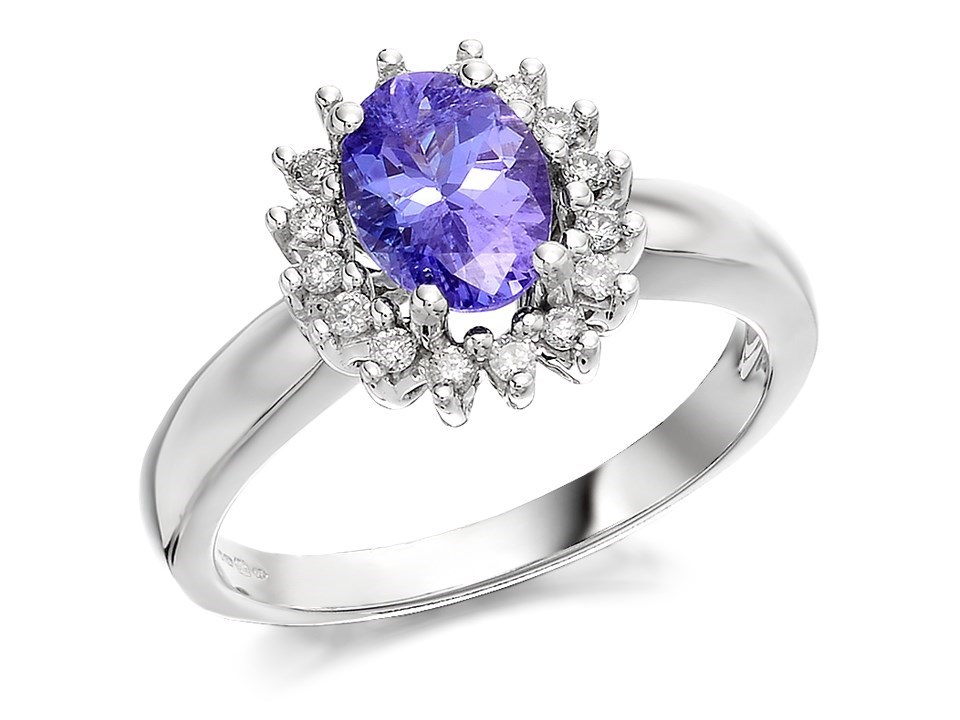 9ct white gold tanzanite and ring 16pts d6309