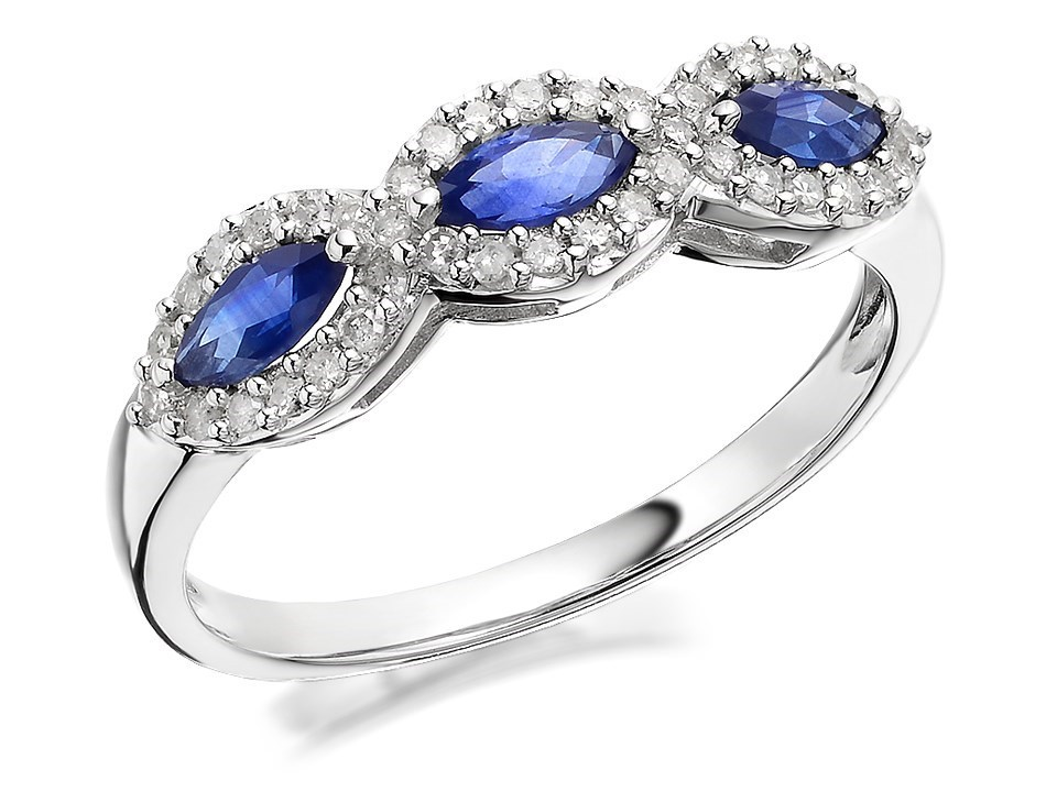 9ct White Gold Marquise Sapphire And Diamond Ring