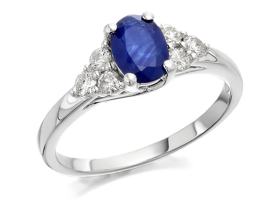9ct White Gold Oval Sapphire And Diamond Ring 30pts