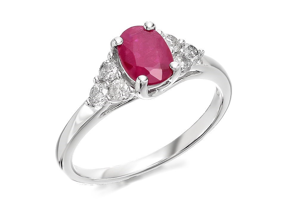 9ct white gold oval ruby and ring 30pts d63114