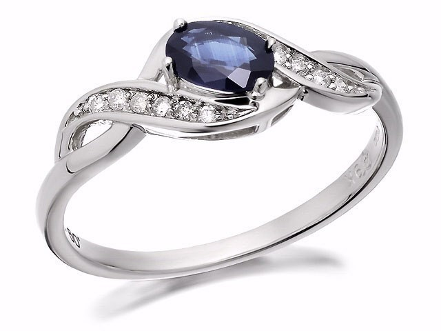 9ct White Gold Sapphire And Diamond Twist Ring - D6363