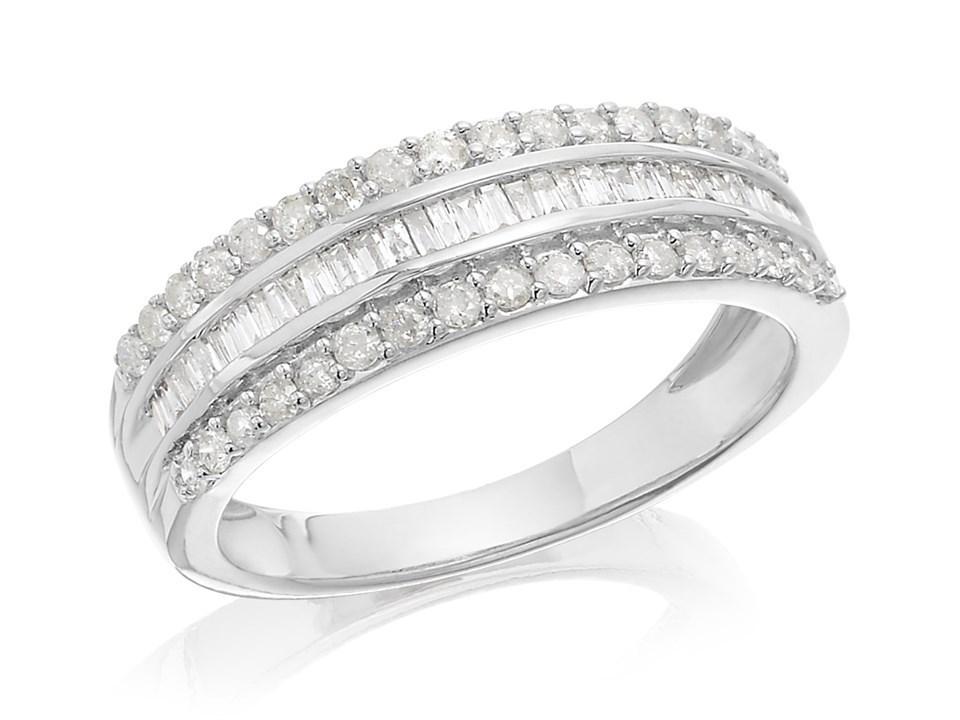 9ct White Gold Three Row Diamond Band Ring 1 2ct