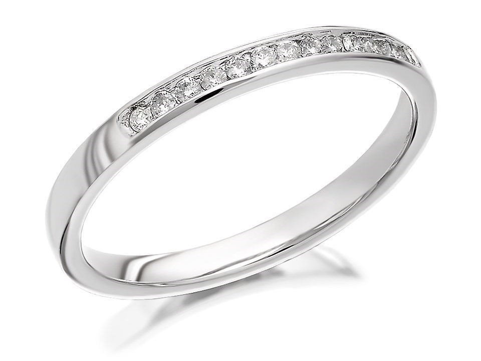 9ct white gold half eternity ring 12pts d6812