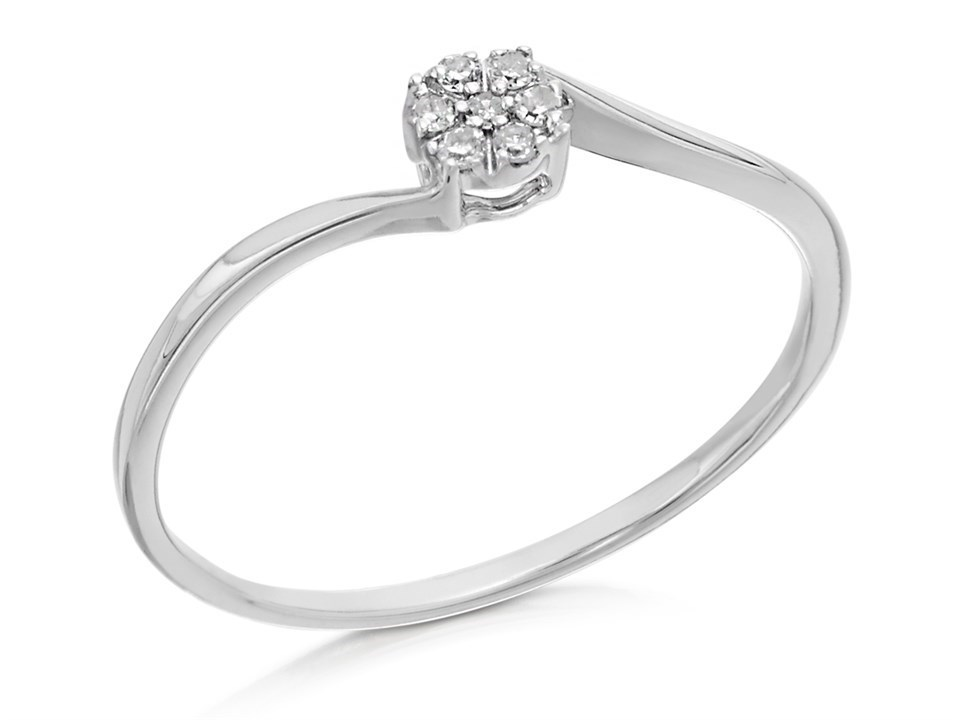 9ct White Gold Diamond Twist Cluster Ring
