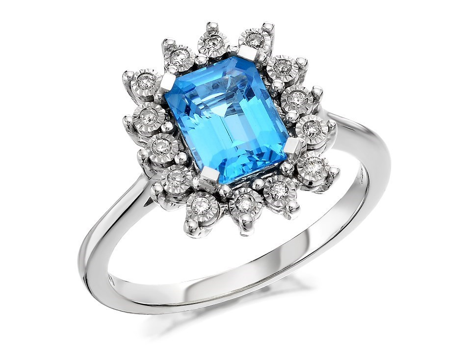 9ct white gold swiss blue topaz and ring 10pts