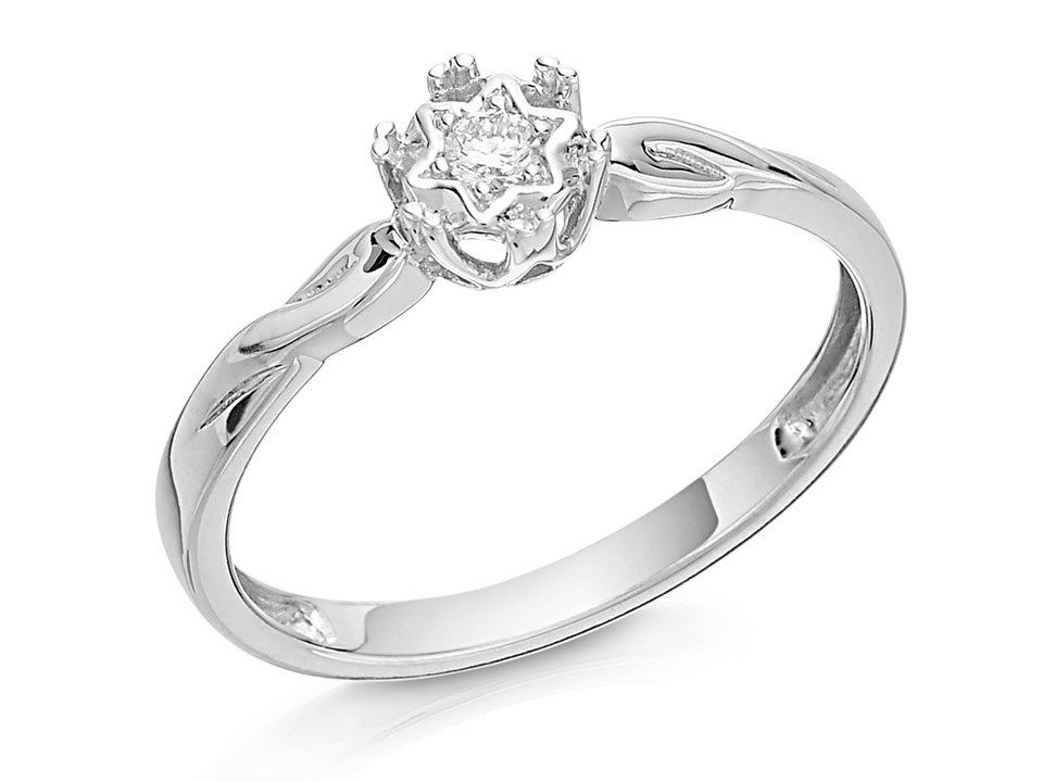9ct White Gold Single Stone Diamond Ring 5pts D6865 F Hinds Jewellers