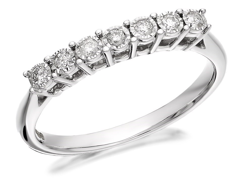 9ct white gold half eternity ring 10pts d6893