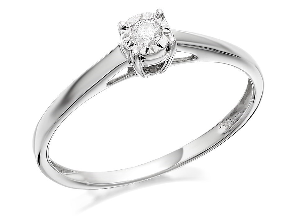 9ct white gold solitaire ring 5pts d71102 f