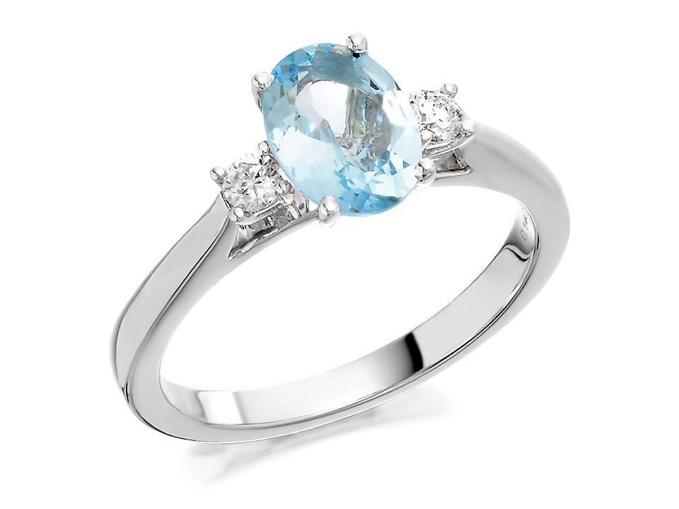 f50224993b513 9ct White Gold Aquamarine And Diamond Trilogy Ring - 14pts - D71103