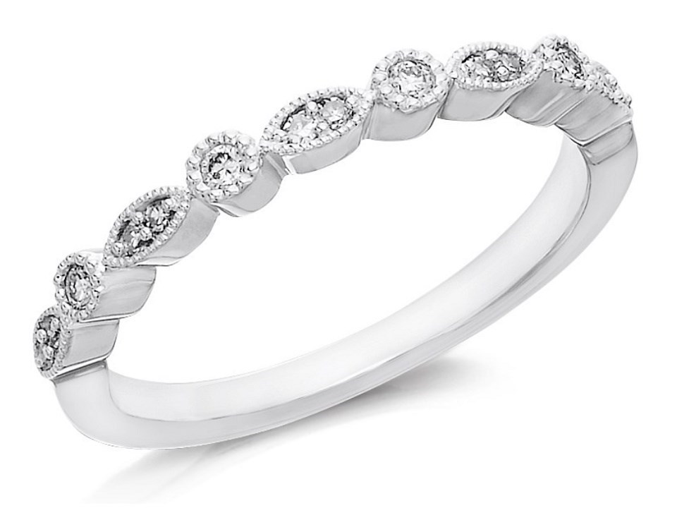 9ct white gold beaded half eternity ring 11pts