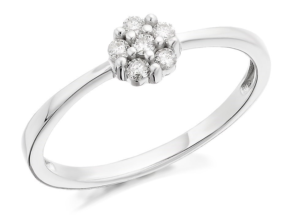 9ct white gold cluster ring 10pts d7139 f