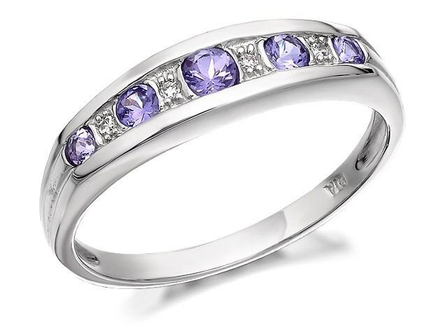 9ct white gold and tanzanite half eternity ring