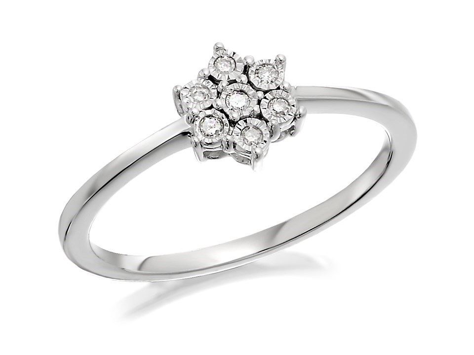 9ct white gold flower cluster ring 5pts d72114