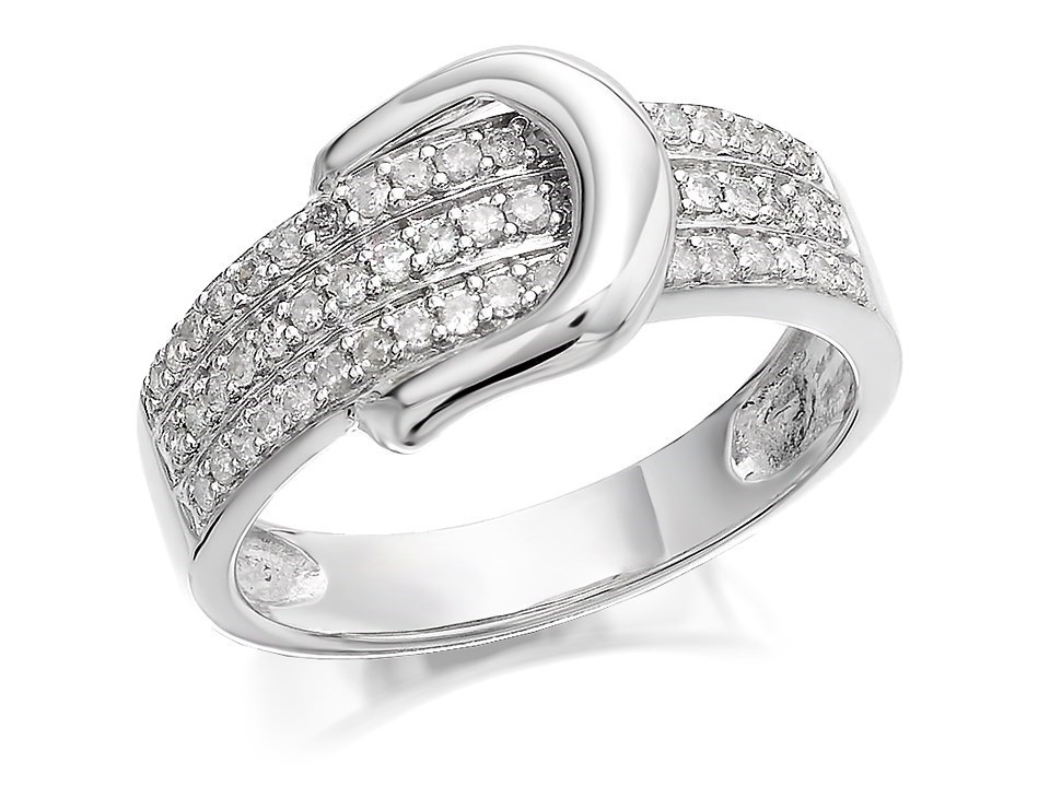 9ct white gold buckle band ring 1 3ct d7265