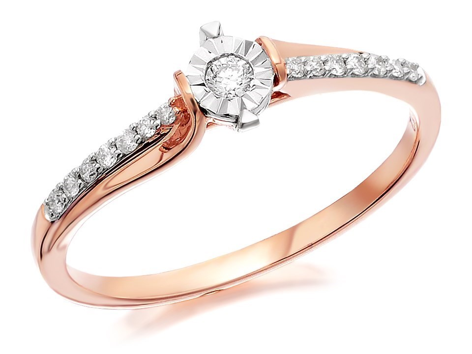 9ct Rose Gold Diamond Ring 12pts D7809 F Hinds Jewellers