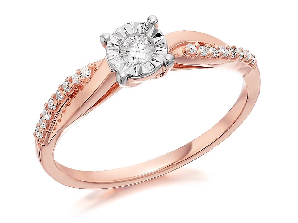 9ct Rose Gold Diamond Ring 17pts D7812 F Hinds Jewellers