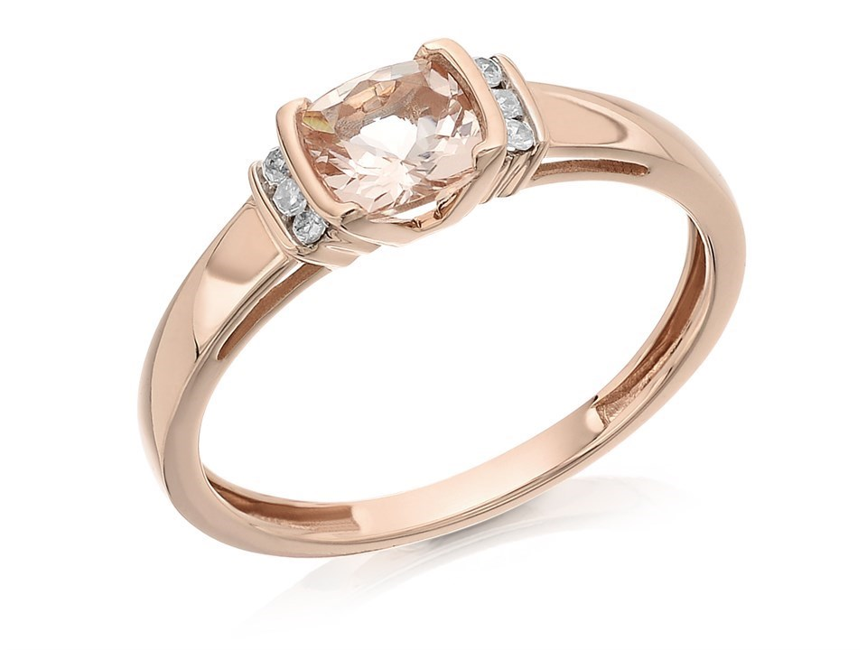 9ct Rose Gold Morganite And Diamond Ring 7pts D7826 F Hinds Jewellers