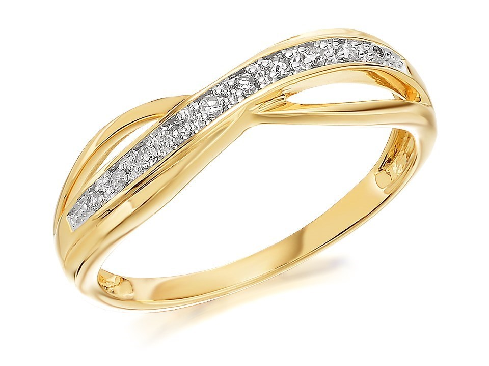 9ct Gold Diamond Crossover Kiss Ring 5pts D8008 F