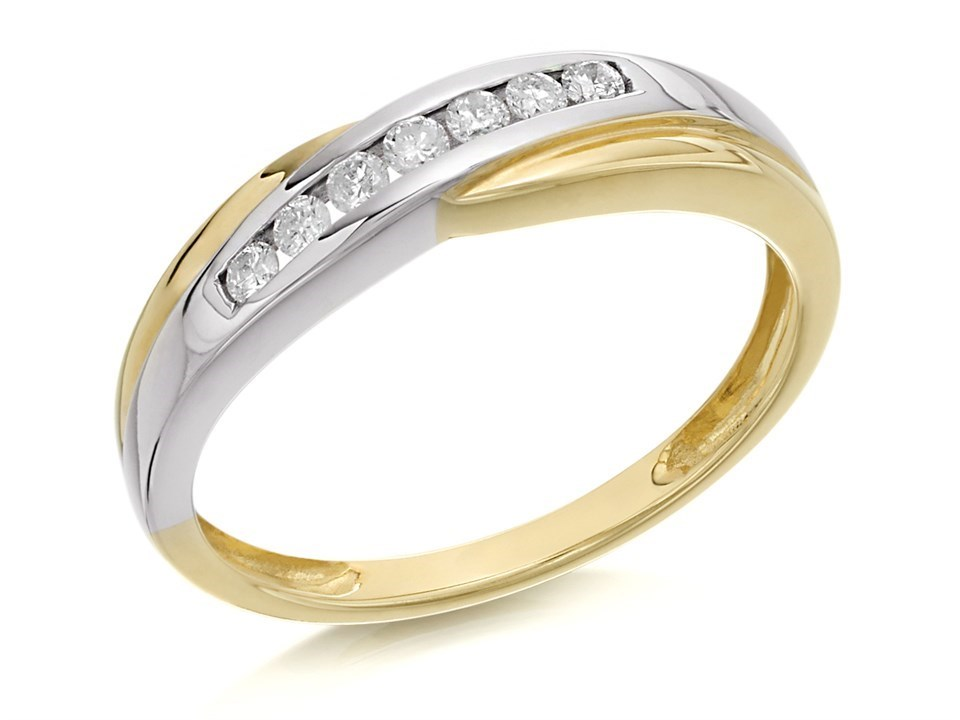 9ct Gold Two Colour Diamond Half Eternity Ring 15pts EXCLUSIVE