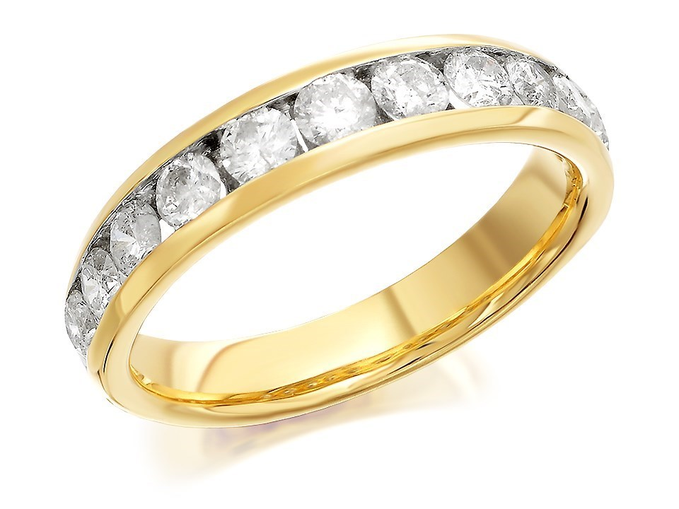 9ct Gold 1 Carat Diamond Half Eternity Ring D8058 F