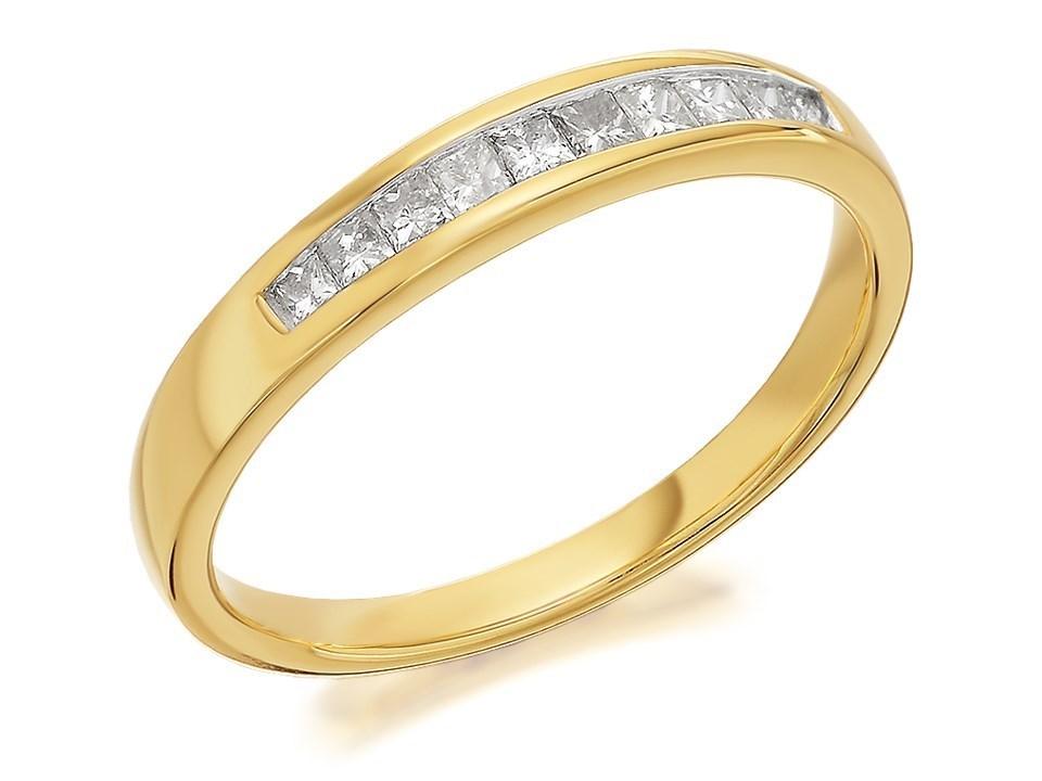 9ct gold princess cut half eternity ring 1 4ct