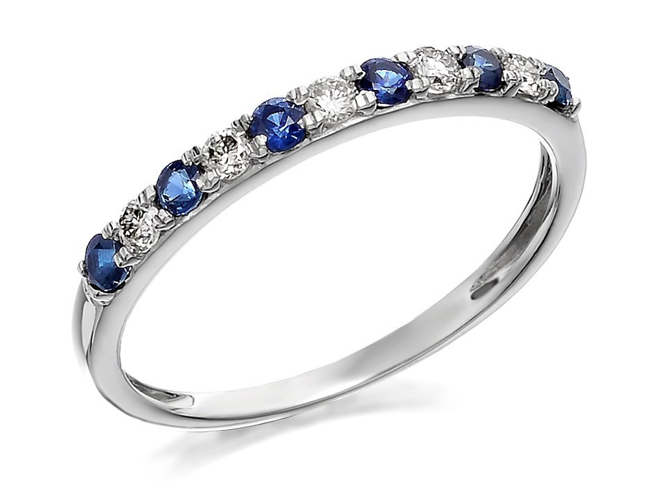9ct white gold sapphire and half eternity ring