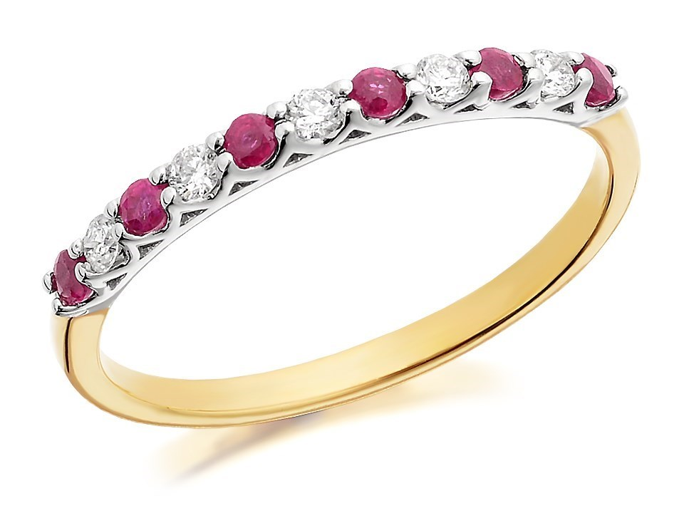9ct gold ruby and ring 12pts d8215 m f hinds